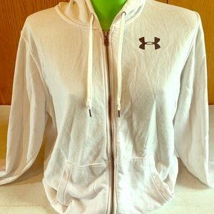 White and black Under Amour zip-up hoodie. Size XL